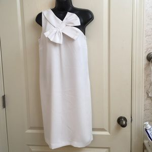CeCe one Shoulder white dress with bow detail
